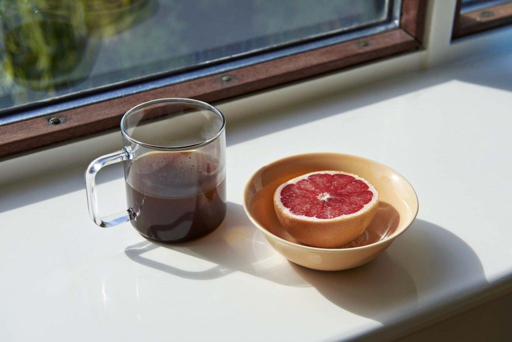 Glass Coffee Mug_Rainbow Bowl S warm yellow