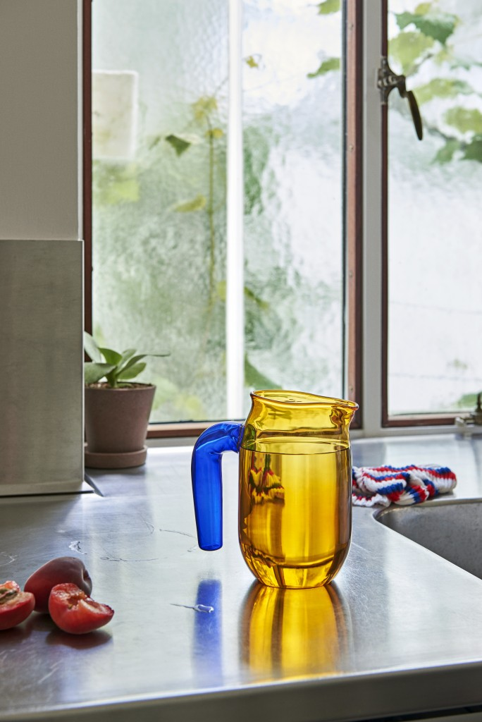 Jug S amber_Kitchen Cloth tricolore blue